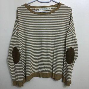 Zara Knit Brown Cream Elbow Shirt Zaraknit